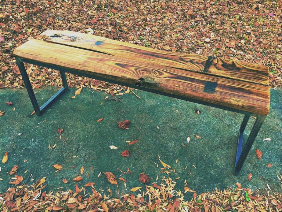 Reclaimed Lumber and Steel Dining Bench