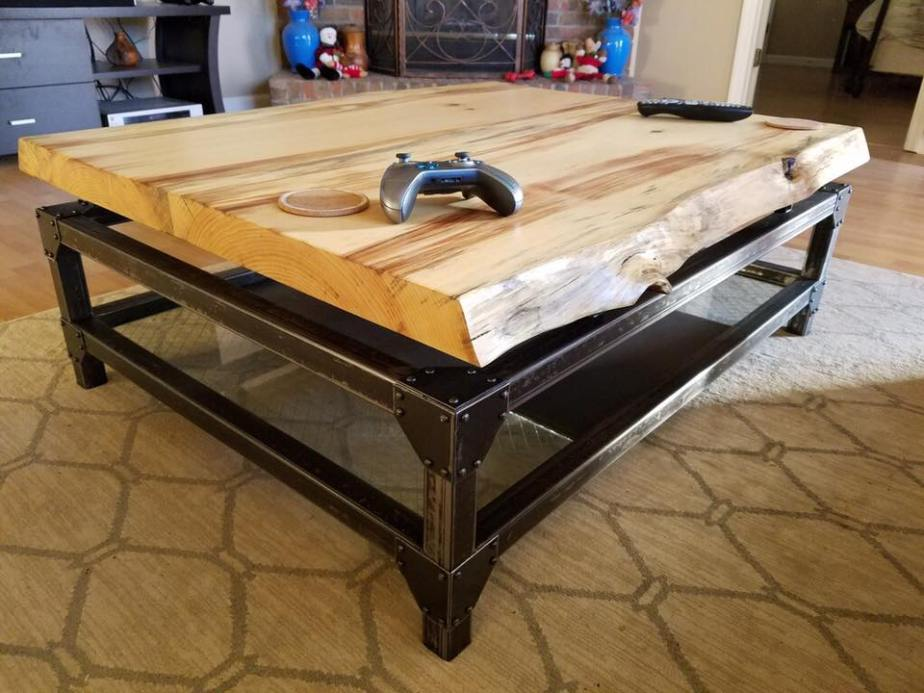 Live Edge Floating Top Coffee Table